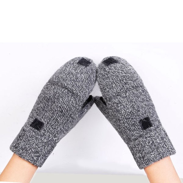 Gestrickte Handschuhe Half Finger Flip-Winter-warme Outdoor-Handschuhe Thermal Convertible Fäustlinge Wolle Acryl Warmhalte Elastic Split Leat