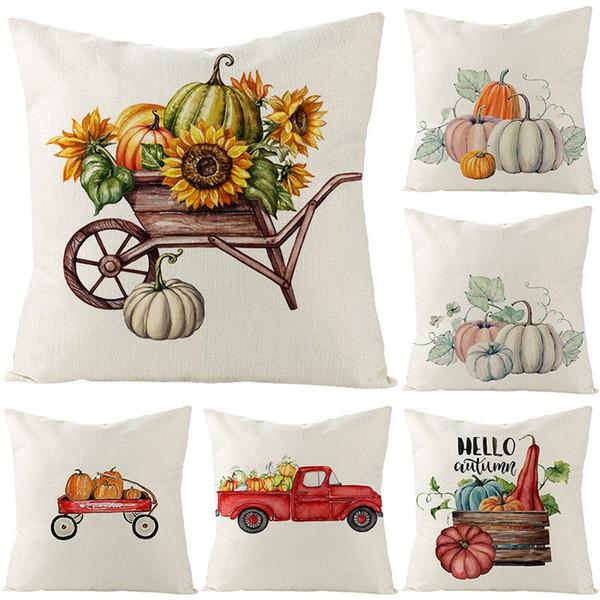 Nuevo diseño Día de Acción de Gracias funda de almohada venta caliente lino cojín cubierta de calabaza impreso funda de almohada cuadrado envío gratis