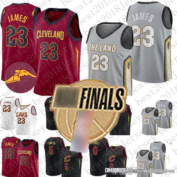 21edd05d4592 2018 Finals Bound Cleveland LeBron 23 James Jersey Cavaliers Kevin 0 Love  JR 5 Smith Basketball