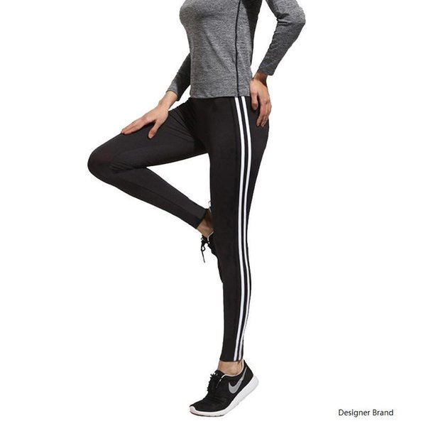 Sex Bodybuilding Sport girl Leggings para mujer con rayas negras en negro leggins Pantalones de moda LWDK19 WR