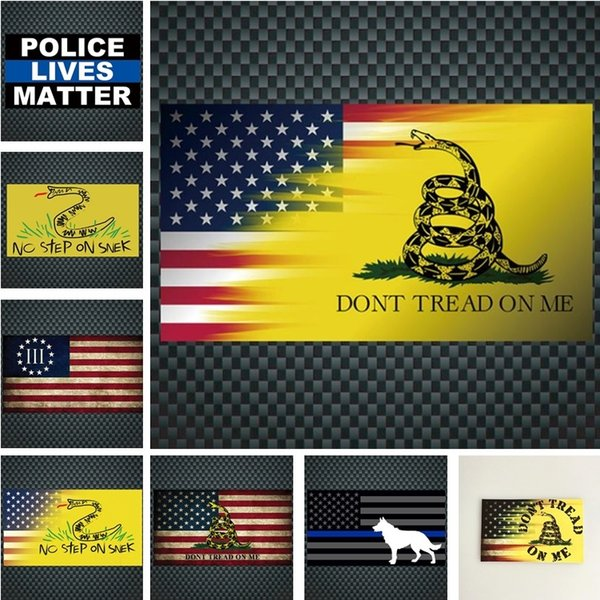Decorative Stickers Dont Tread On Me Decal American Yellow Snake Car Sticker Blue Striped Police Dog Car Sticker Window Stickers I244 Business