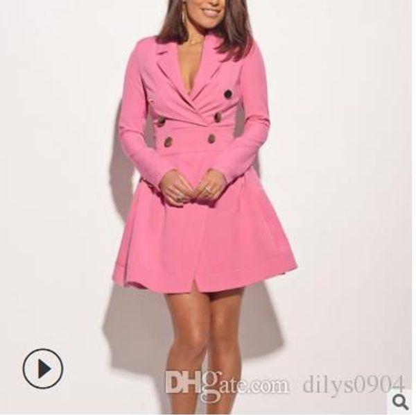 milk silk decorative button skirt euro-american long sleeve suit collar slim mid-waist dress stitching irregularity printing women'