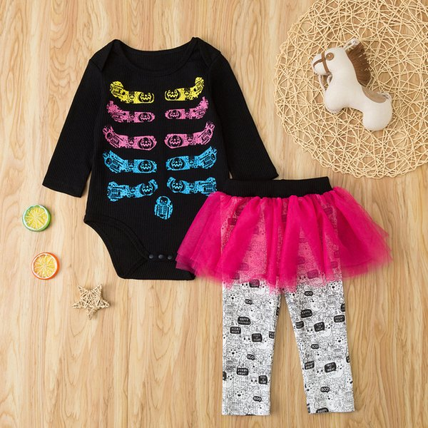 Halloween Baby Romper Set Bone Print Romper Tutu Skirt Pants Outfits Top And Top Autumn Fashion Infant Clothing Baby#G2