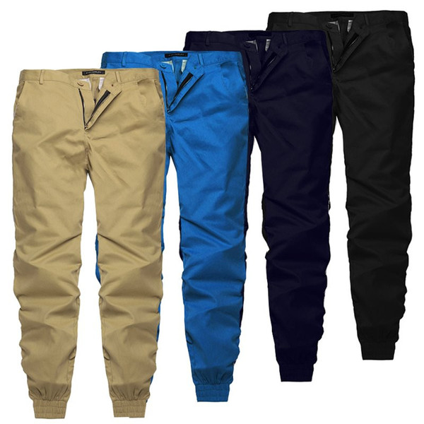 2019 Plain Pants Men Casual Chinos Trousers Joggers Slim Fit Man Chinos Pants With Elastic Cuff Clothing Summer Autumn