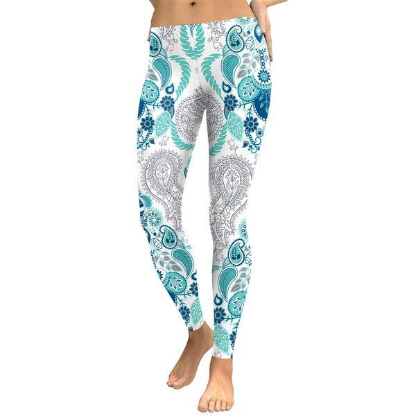 JIGERJOGER Blue paisley subliamtion digital printing elastic waist tights pants booty leggings women fitness pants plus size XL #204714