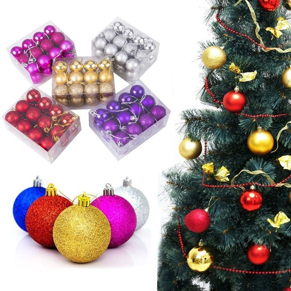 24 Pieces Christmas Xmas Tree Ball Bauble Home Party Ornament Hanging Decor New