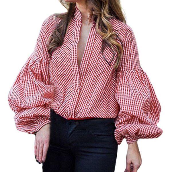 Donna Casual manica lunga lanterna pulsante manica Plaid sciolto Tops occhiali vegana T-Shirt morbida estetica tumblr riverdale Business