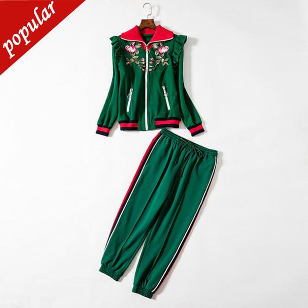 Spring Autumn Women Floral Embroidery Turtleneck Zipper Ruffles Jackets+elastic Waist Pants Two Pieces Suit Sets Jc2497