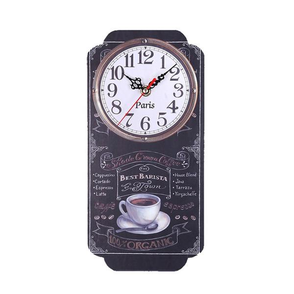 European Retro Square Wall Clock Large Silent Wall Clock Digital Rectangle Modern Design Printed Clocks For Home Bar
