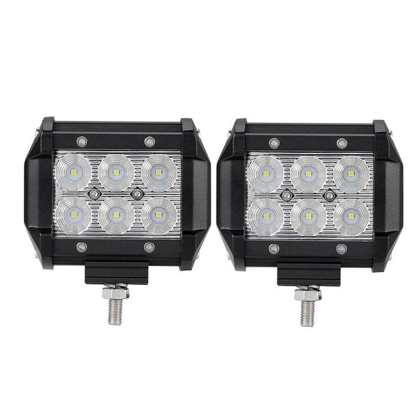 Dual-row 4inch 18W LED Work Light Flood Beam for Driving Offroad Boat Car Tractor Truck 4x4 SUV +Wiring Kit