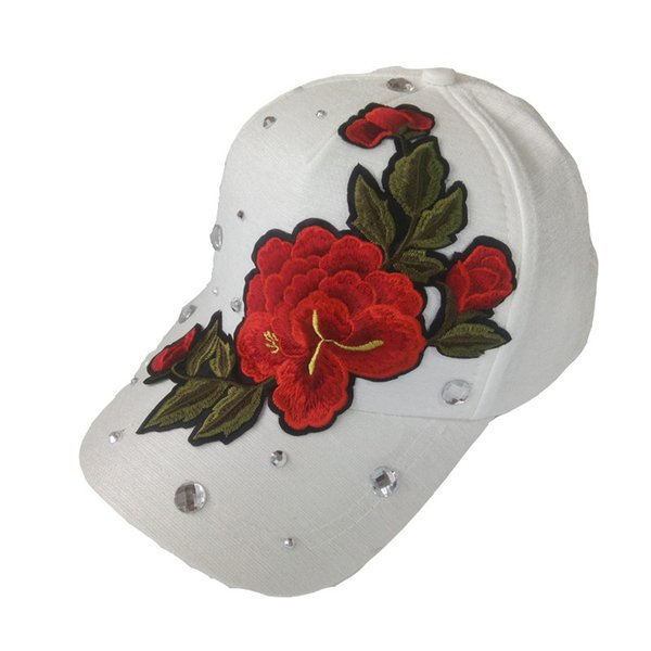 Cool Snapback Hats for girls Diamond Vintage Snapbacks Womens Snapback Hats Ladies Dress Hats Custom Made Snapback with Embroider Peonies