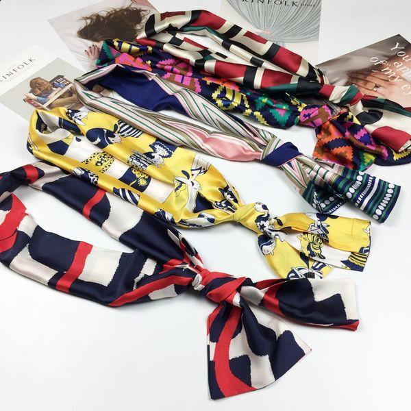 Trendy New 140cm*16cm Bag Scarf Print Silk Scarf Women Small Bag Ribbon Fashion Female Hair Ribbons Fashion Handbag Skinny Scarves