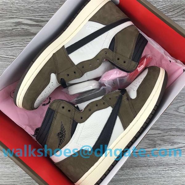 Kutusu ile Koşu Ayakkabıları En kaliteli Travis Scotts x 1 1s Erkek Basketbol Ayakkabı Sneakers Süet Brown Erkekler Boy Athentic Spor Tasarımcı Eğitmenler