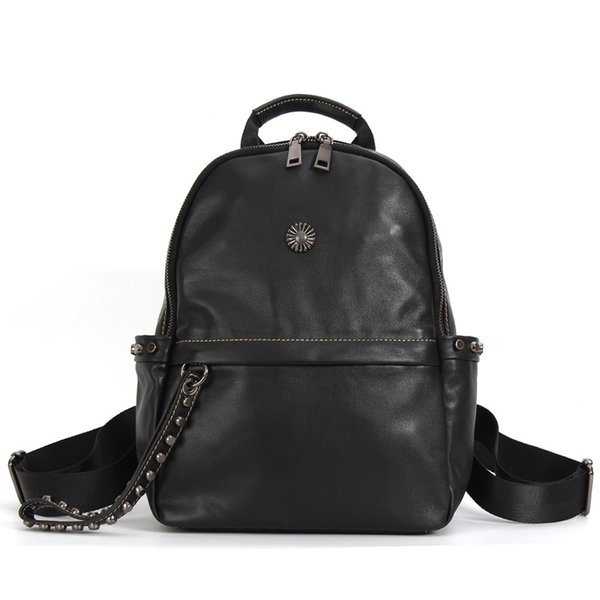 Personality Wild Leather Backpack Female First Layer Leather Simple Travel Fashion Trend Soft Leather Bag jooyoo