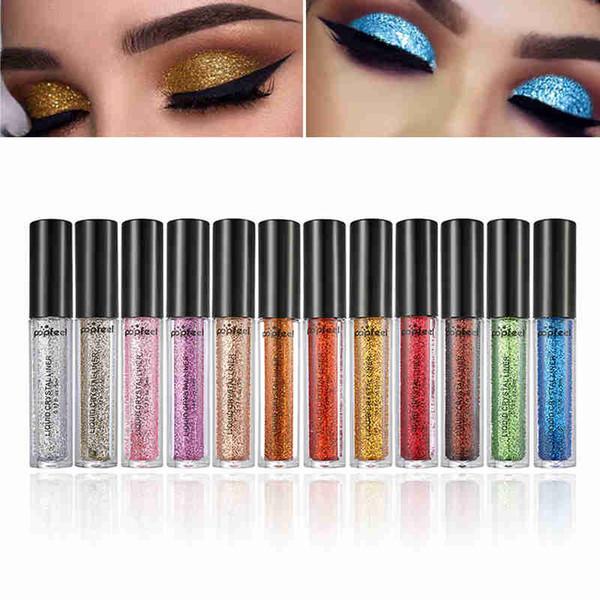 POPFEEL Sıvı Elmas Göz Farı Inci Metalik Shinning Krem 12 Renk Glitter Göz Makyaj Dudaklar Eyeliner Pigment Festivali