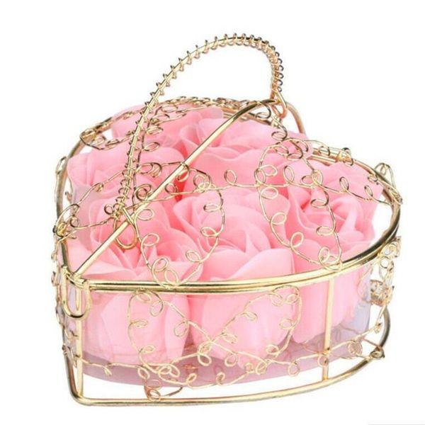 6Pcs Scented Rose Flower Heart Shaped Iron Basket Petal Bath Soap Flower Romantic Soap Rose For Valentine Wedding Christmas Gift