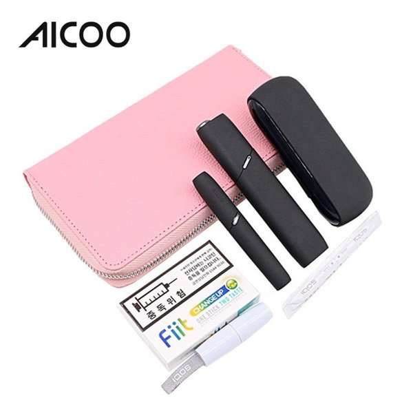 AICOO Lychee Leather Wallet Electronic Cigarette Case for IQOS 3.0 with Zipper Portable Electronic Cigarette Storage Bag OPP
