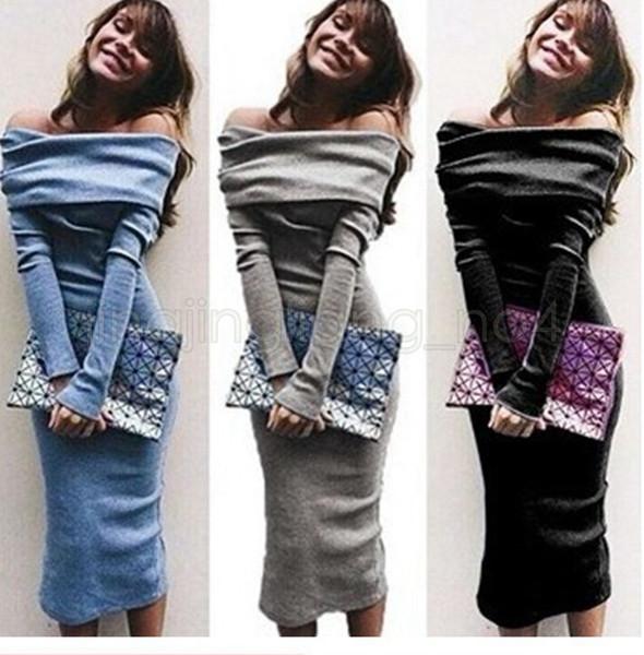 Uzun Kollu Kapalı Omuz Elbise Orta Buzağı Bodycon Kılıf Zarif Kalem Wrap Bayanlar Gündelik Elbise Düz Renk Slash Boyun LJJV15