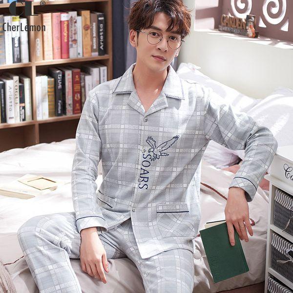 CherLemon Men Pajama Set Spring Full Cartoon Pajamas For Men Cotton Simple Turn-down Collar Sleepwear Large Size Pyjamas