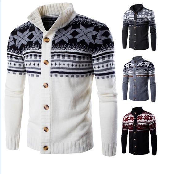 Hot 2019 Primavera autunno Casual tratto Stand colletto maglione uomo moda grande fiocco di neve in maglia Cappotto maglione cardigan monopetto