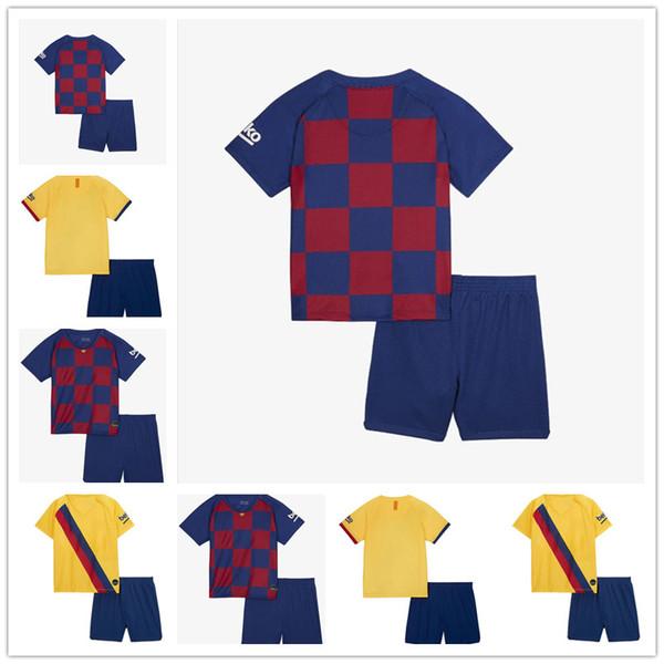 Çocuklar 2019 2020 Futbol Takımları Retro Erkek Barcelona F.DE JONG Jersey Messi çocuk gençlik Futbol gömlek Camiseta de fútbol Niño personalizada