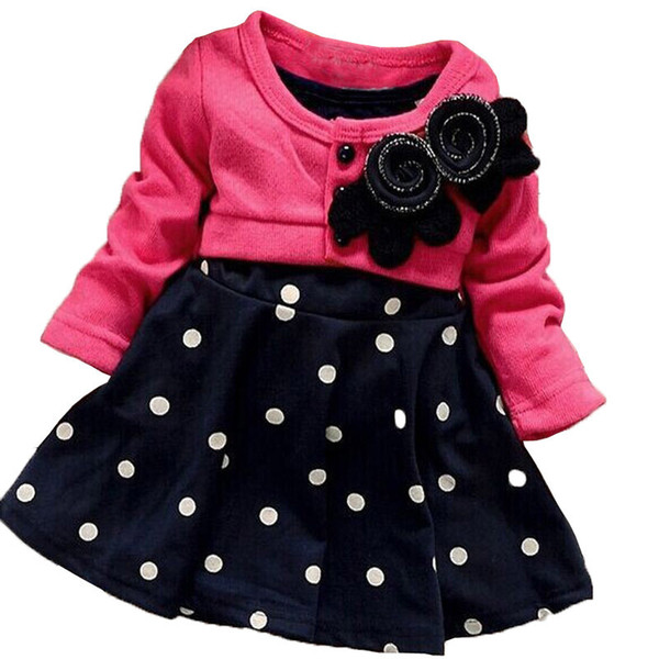 good quality 2019 Baby Girls Dresses New Fashion Spring Autumn Kids Children Clothes Splicing Polka Dots Dress Girls Party Dress