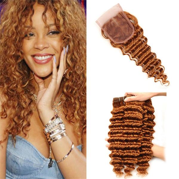 Farbe 30 Auburn Brown Tiefes Lockiges Haar Bundles mit Spitzenverschluss Deep Wave Hellbraune Menschenhaarwebart mit Verschluss