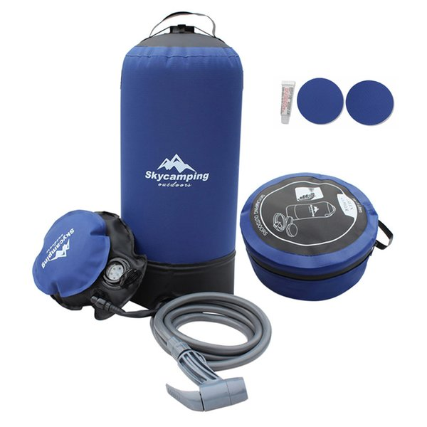 top popular 11L PVC Pressure Shower with Foot Pump Lightweight Outdoor Inflatable Shower Pressure Water Bag For Outdoors Beach 2019