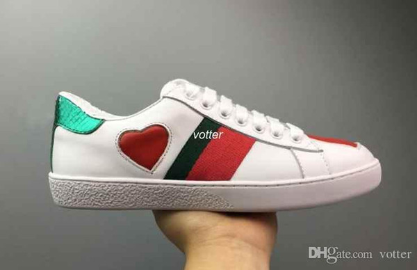 Mens designer luxury shoes Casual Shoes white women sneakers good embroidery bee cock tiger dog fruit on the side with OG box 7fg