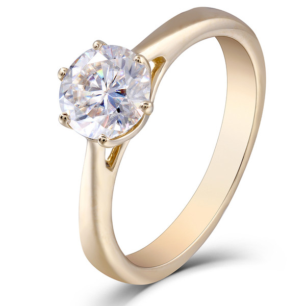 Transgems 10k Yellow Gold 1.0 Carat Gh Color Moissanite Simulated Diamond Engagement Ring Wedding Gifts Fine Jewelry For Women Y19061203