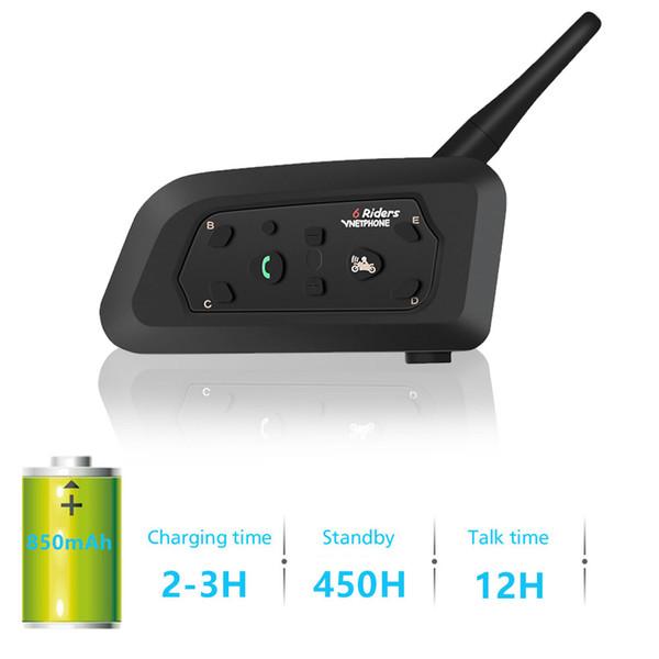 Walkie Talkie Motocicleta Casco Bluetooth Auriculares Intercomunicador V6 Con Micrófono para 6 corredores Accesorios inalámbricos Touring MP3 GPS