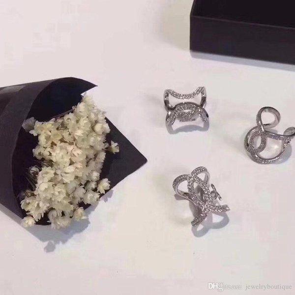 Vendita calda cava Aperto l'anello di barretta Mid snodo Anelli con eccellente combinazione scintilla nozze di diamante donne gioielli anelli Geometria di stile
