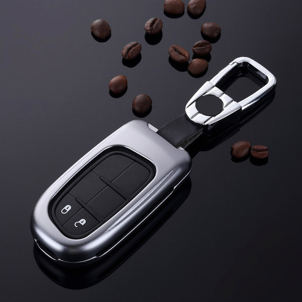 Aluminum Alloy Car Key Cover Case with keychain Protection Shell for Jeep Cherokee 2014 2015 2016 2017 2018 Dodge RAM 2018