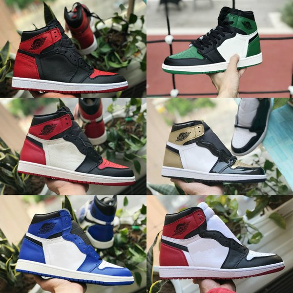 2019 High 1 OG TOP 3 Banned Bred Royal Blue Mid hare Women Basketball Shoes for Men 1s Shattered Backboard off Trainers Red White Sneakers