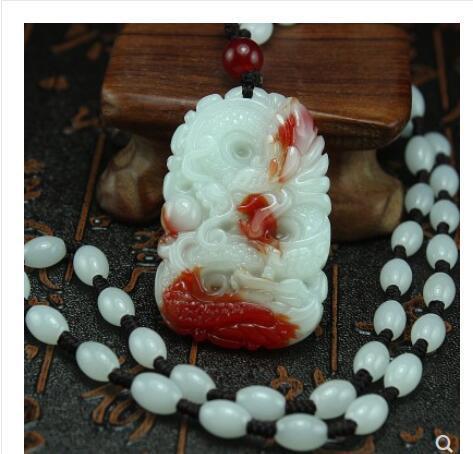Xinjiang chicken blood jadeer dragon pendant polished gold silk travel dragon card col real GEM jaspergem stone jewelry necklace
