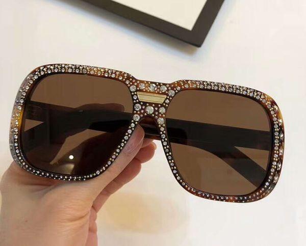 Designer Havana 0427 Square Sunglasses Brown Lens Sun Glasses gafas de sol Top Quality New wth Box