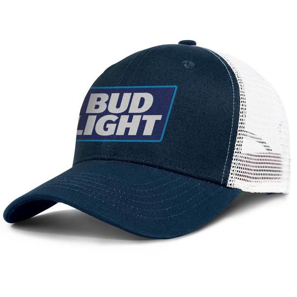 Womens Mens Plain Adjustable BUD LIGHT LOGO Rock Punk Cotton Cricket Cap Golf Flat Top Hat Airy Mesh Dad Hats For Men Women