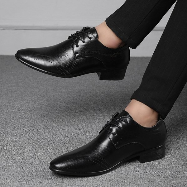 2019 Top Brand Men Dress Shoes Genuine Leather Formal Business Men Shoes Wedding Party Large Size Dress Shoe for Brown