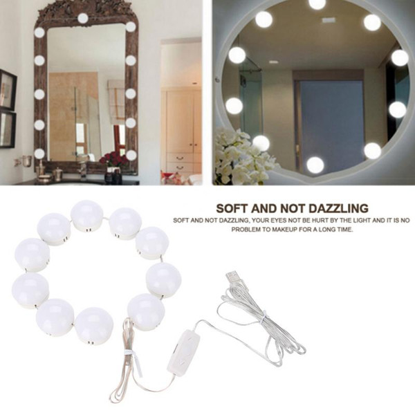10 LED Bulb Makeup Mirror Lights Dimmable Bulb Warm/Cold Tones Mirror Decorative Light Dresser Lamp Accessory a b