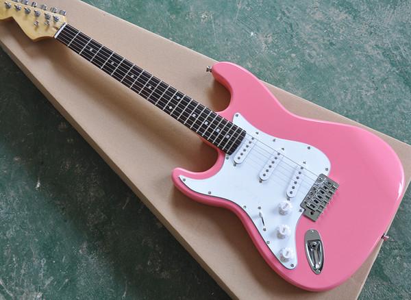 Livraison gratuite rose gaucher guitare électrique avec pickguard blanc, touche palissandre, matériel de chrome, offrant des services personnalisés