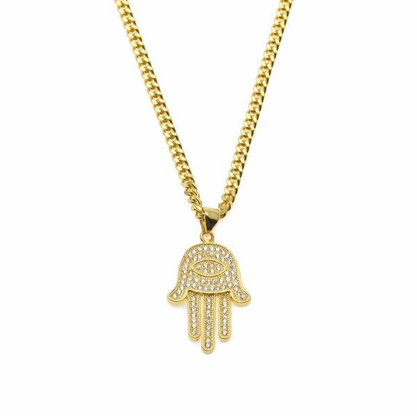 Gold Silver Fatima Hamsa Hand Pendant necklaces Bling CZ iced out Evil eye charm Cuban chain For women Mens Hip Hop Jewelry