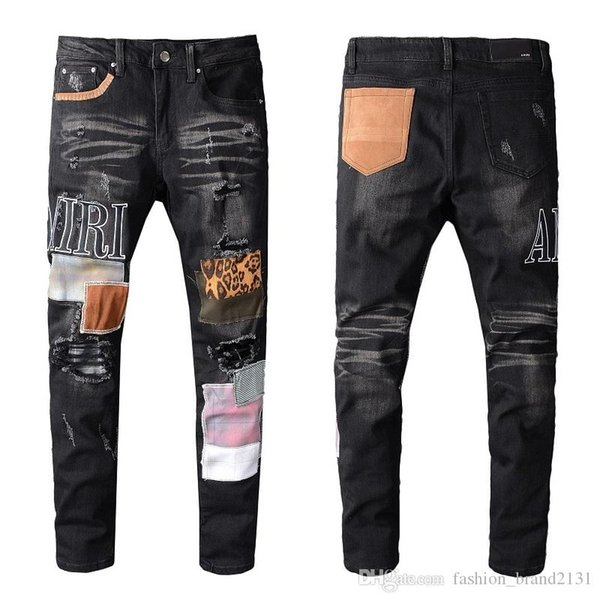 AMIR Jeans Brand New Mens Distressed Ripped Biker Jeans Slim Fit Motard causales TROU Denim Jeans Streetwear Mode Pantalons Designer
