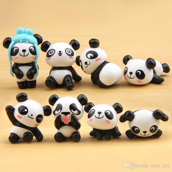 Mignon Mini Poupées Panda bricolage Modèle Anime Cartoon PVC Figurine décoration Micro jardin enfants cadeau
