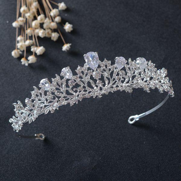 Gümüş Temizle Kristal Yaprak Kübik Zirkon Taç Düğün Tiara CZ Gelin Kraliçe Prenses Rhinestone Pageant Balo Taç tiara de noiva D19011102
