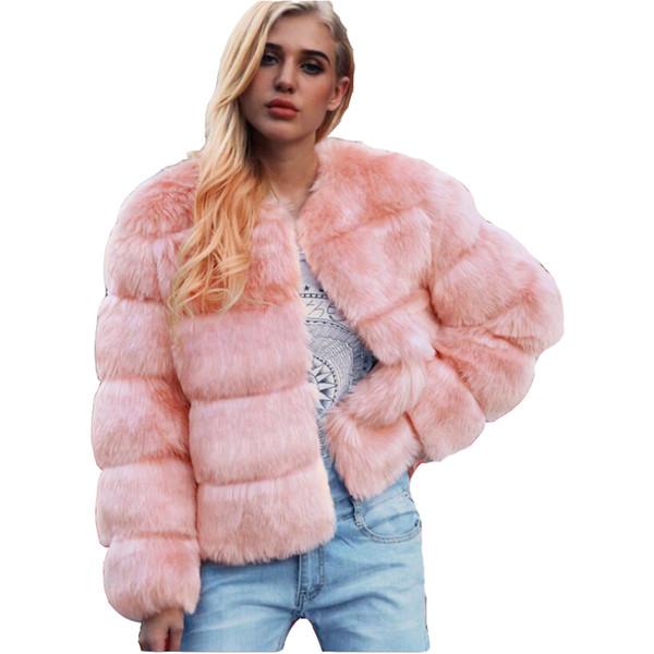 2019 autumn and winter fashion imitation fur cross ditch jackets women's  fur short coats women's clothing