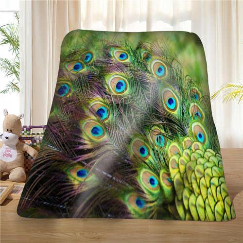 Custom feather_surface_peacock (1) Manta Suave Fleece DIY Your Picture Decoración Dormitorio Sofá Tamaño Múltiple # 928-01-3