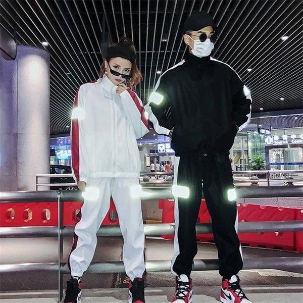 c5b233204293 Couples Clothes Fashion Ulzzang Reflective Tracksuits 2 Pcs Sets Casual Two Pieces  Jacket and Pants Sets
