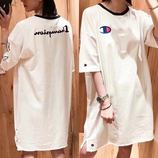 2019 New Champi0n Summer Dress Long T Shirt High Street Fashion Women Clothes Brand Cotton Womens Designer Dress White & Black Color M-XL