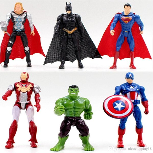 низкая цена 10 шт. много T03 Железный Человек Халк Супермен Бэтмен Мстители Капитан Америка Супергерои Тор игрушка