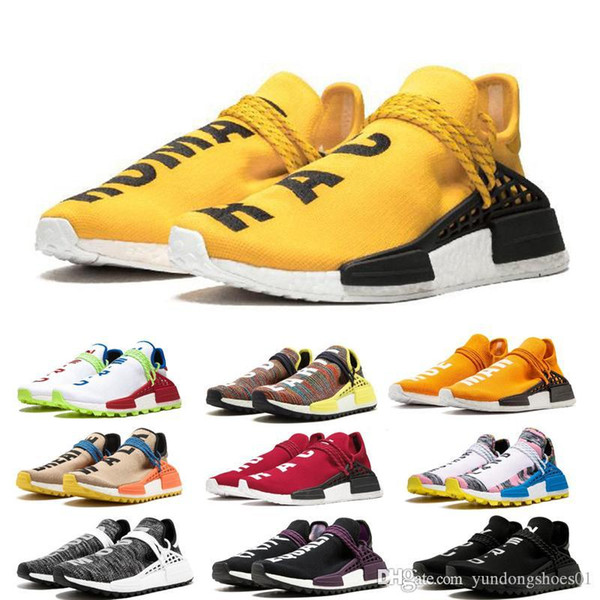 With Box NMD Human Race Running Shoes for mans Pharrell Williams Sample Yellow Core Black Sport Designer Shoes Men Women Sneakers 36-45